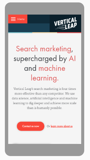 Vertical Leap website on mobile